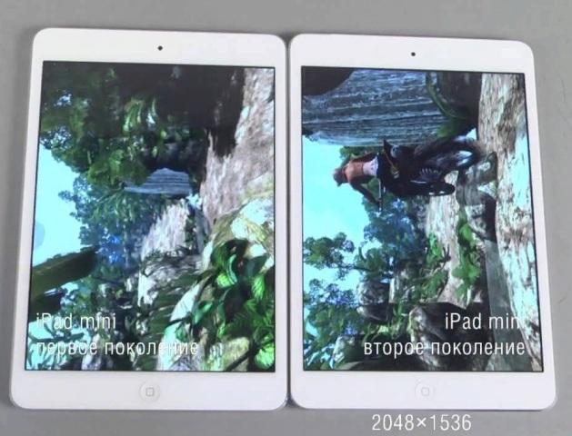 Cравнение разрешения iPad c iPad mini 2 фото