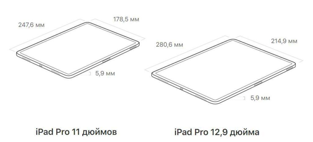 размеры iPad pro